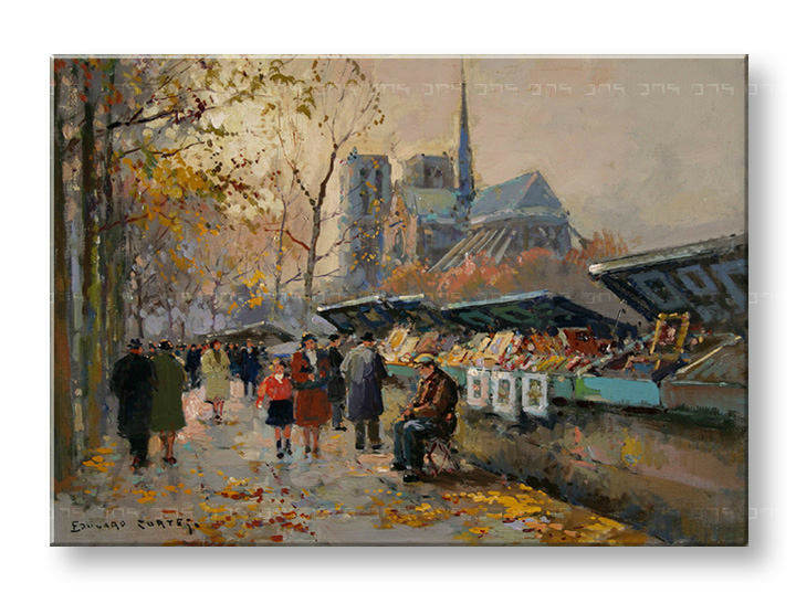 Πινακες σε καμβα BOOK SELLERS ALONG THE SEINE - Edouard Leon Cortes