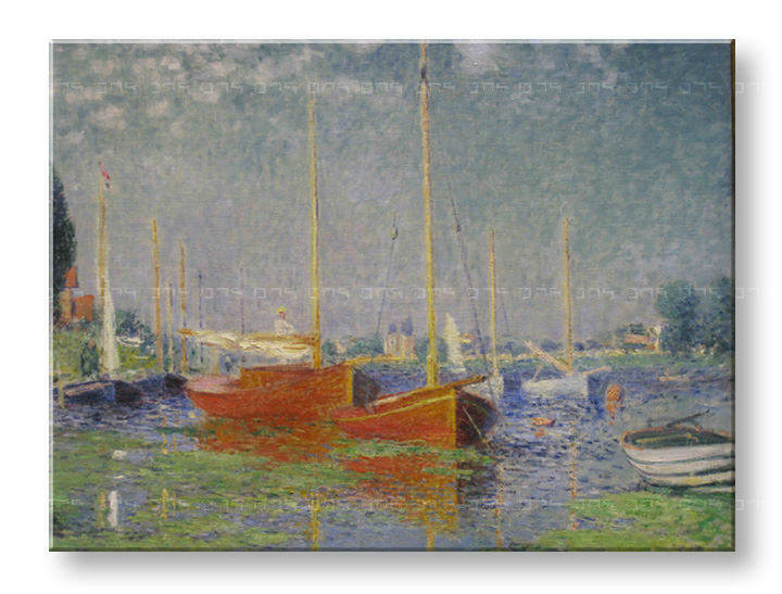 Πινακες σε καμβα RED BOATS AT ARGENTEUIL - Claude Monet
